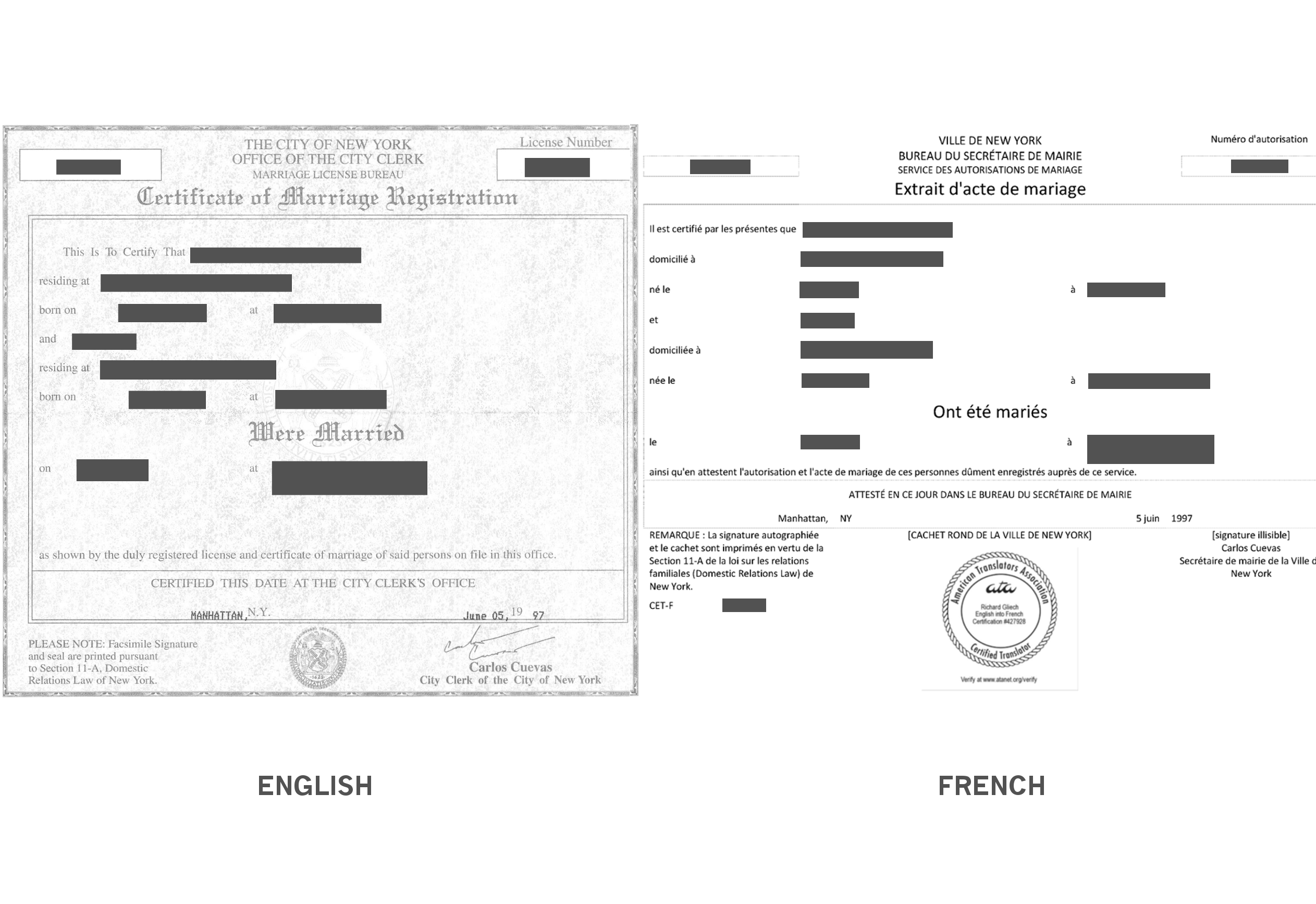 marriage certificate translation sample richard gliech translator llc. Black Bedroom Furniture Sets. Home Design Ideas